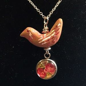 Sterling Pink & White Bird & Pink Roses Necklace